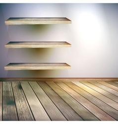 Beige blue wall with lights wooden floor eps 10 vector