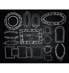 Chalkboard doodle frames set vector