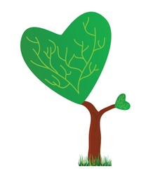 Tree with a crown in the shape of heart vector