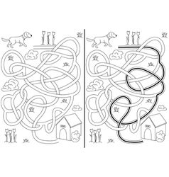 Dog maze vector