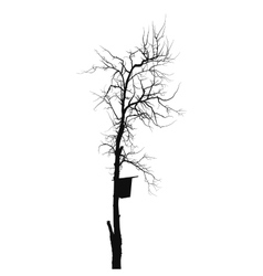 Silhouette old dry tree with starling house vector