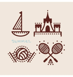 Summer beach icon collection vector