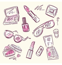 Cosmetics makeup set vector