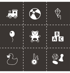 Black toys icon set vector