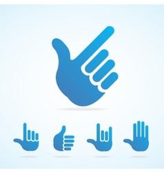 Flat hand icon set vector