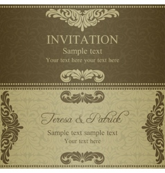 Baroque invitation dull gold vector