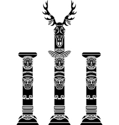 Totem pole with a deer skull vector