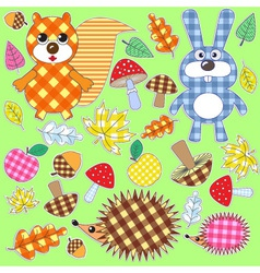 Set of textile stickers vector