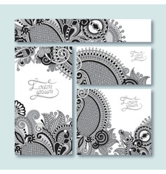Grey set of decorative floral greeting cards in vector