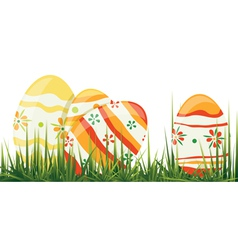 Easter eggs in grass vector