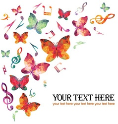 Butterfly and notes vector