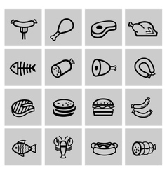 Black meat and sausage icon set vector