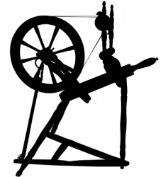 Antique spinning wheel vector