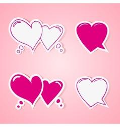 Heart shaped speech bubbles set vector