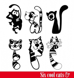 Band of six flunkey cats vector