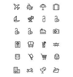 Travel line icons 1 vector