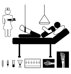 Patient in hospital vector