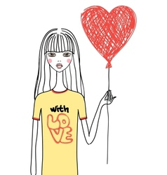Beauty girl with red heart vector