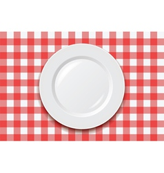 Cooking tablecloth and empty plate vector
