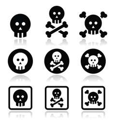 Death skull with bones icons set vector