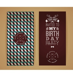 Happy birthday invitation vintage retro background vector