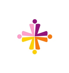 Cross abstract group people colorful logo vector