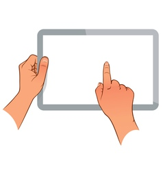 Hand holding a touchpad ps vector