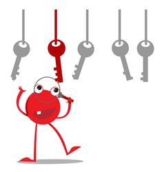 Red monster finds the right key vector