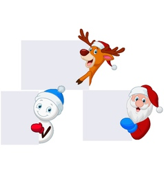 Santa deer and snowman with blank sign vector