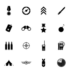 Black military icons set vector