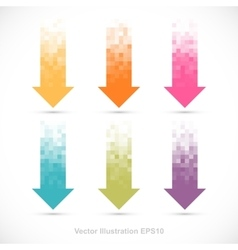 Set of pixelated arrows vector