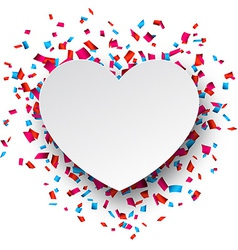 Paper heart love confetti sign vector