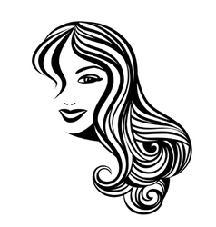 Lady with a long hair portrait vector
