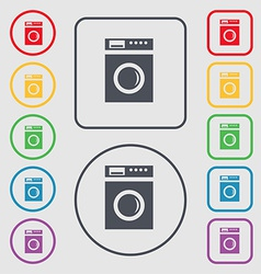 Washing machine icon sign symbol on the round and vector