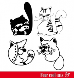 Band of four funky cats vector