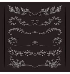 Set of elegant calligraphic foliate borders vector