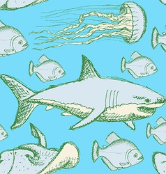 Sketch sea creatures in vintage style vector