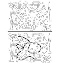 Frogs maze vector