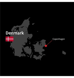 Detailed map of denmark and capital city vector