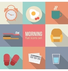 Morning time icons set vector