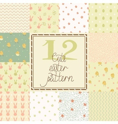 Set of cute easter patterns vector