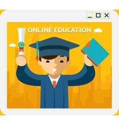 Online education graduate in gown and hat into vector