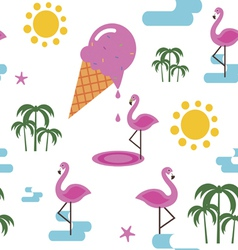 Summer seamless pattern with flamingo and ice vector