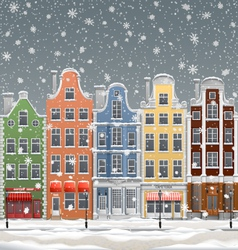 Winter in town vector