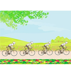 Group of riders racing vector