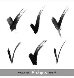 Set of hand drawn v signs vector