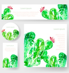 Set of watercolor cactus tags and banners vector