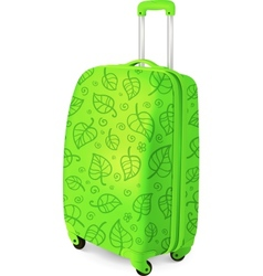 Green travelling baggage suitcase vector