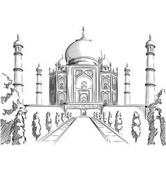 Sketch of india landmark taj mahal vector