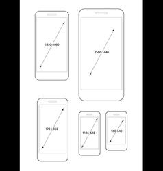 Different modern smartphone resolutions set vector